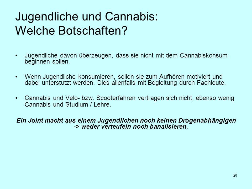 20 Jugendliche und Cannabis: Welche Botschaften? Jugendliche davon überzeugen, dass sie nicht mit dem Cannabiskonsum beginnen sollen. Wenn Jugendliche
