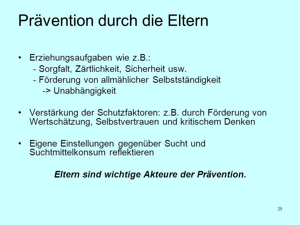 29 Prävention durch die Eltern Erziehungsaufgaben wie z.B.: - Sorgfalt, Zärtlichkeit, Sicherheit usw. - Förderung von allmählicher Selbstständigkeit -