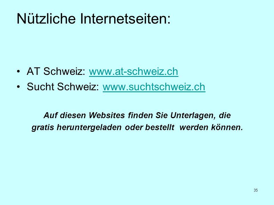 35 Nützliche Internetseiten: AT Schweiz: www.at-schweiz.chwww.at-schweiz.ch Sucht Schweiz: www.suchtschweiz.chwww.suchtschweiz.ch Auf diesen Websites
