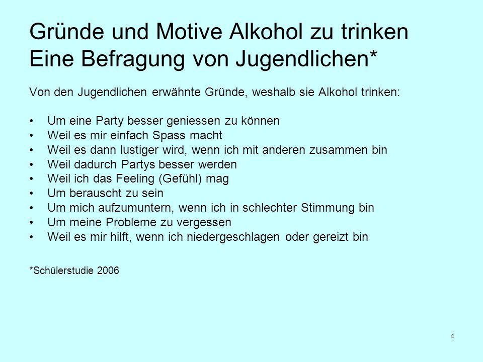 4 Gründe und Motive Alkohol zu trinken Eine Befragung von Jugendlichen* Von den Jugendlichen erwähnte Gründe, weshalb sie Alkohol trinken: Um eine Par