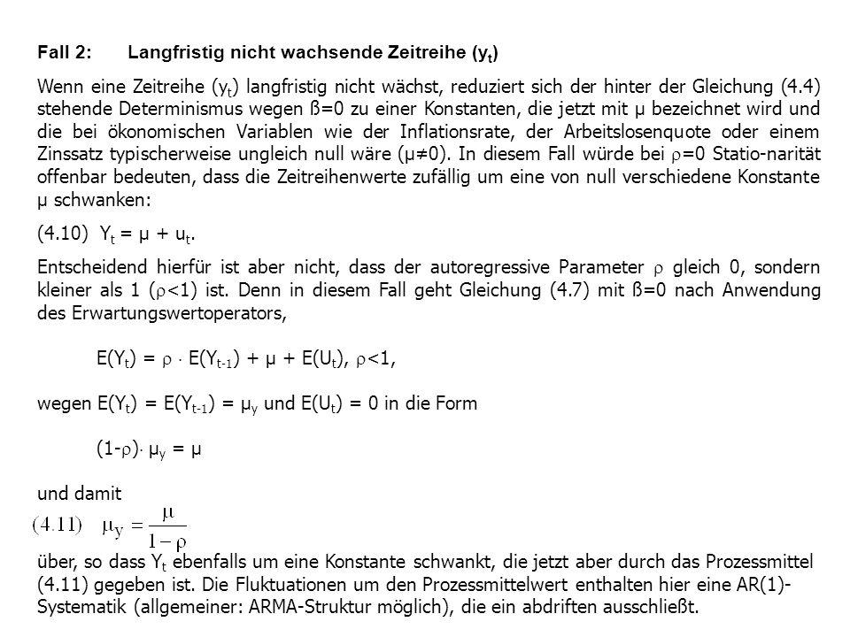 Fall 2: Langfristig nicht wachsende Zeitreihe (y t ) Wenn eine Zeitreihe (y t ) langfristig nicht wächst, reduziert sich der hinter der Gleichung (4.4