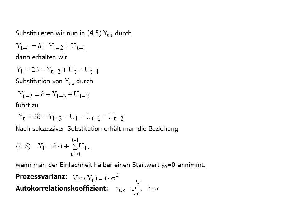 Substituieren wir nun in (4.5) Y t-1 durch dann erhalten wir Substitution von Y t-2 durch führt zu Nach sukzessiver Substitution erhält man die Bezieh