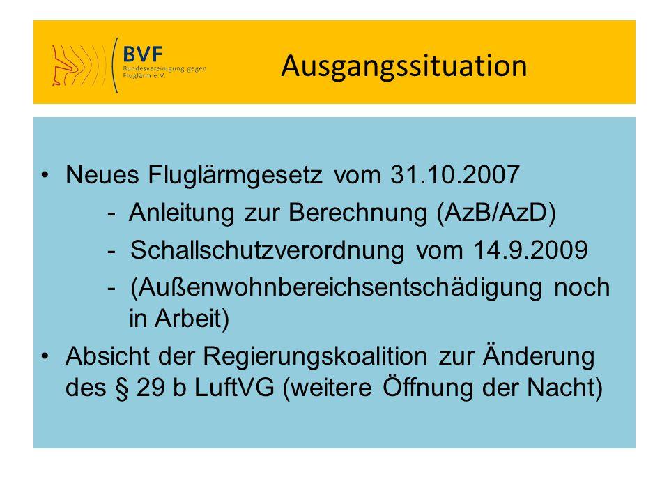 Ausgangssituation Neues Fluglärmgesetz vom 31.10.2007 - Anleitung zur Berechnung (AzB/AzD) - Schallschutzverordnung vom 14.9.2009 - (Außenwohnbereichs