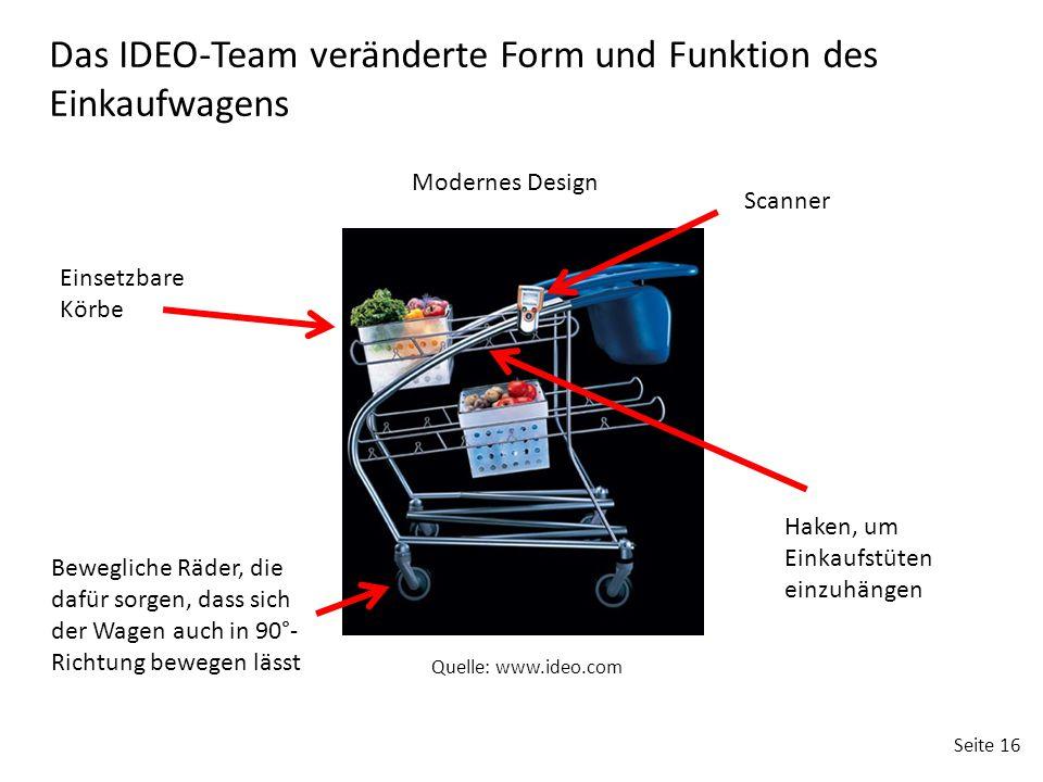 Seite 16 Einsetzbare Körbe Modernes Design Haken, um Einkaufstüten einzuhängen Bewegliche Räder, die dafür sorgen, dass sich der Wagen auch in 90°- Richtung bewegen lässt Scanner Das IDEO-Team veränderte Form und Funktion des Einkaufwagens Quelle: www.ideo.com