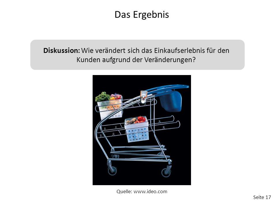 Seite 17 Diskussion: Wie verändert sich das Einkaufserlebnis für den Kunden aufgrund der Veränderungen? Das Ergebnis Quelle: www.ideo.com