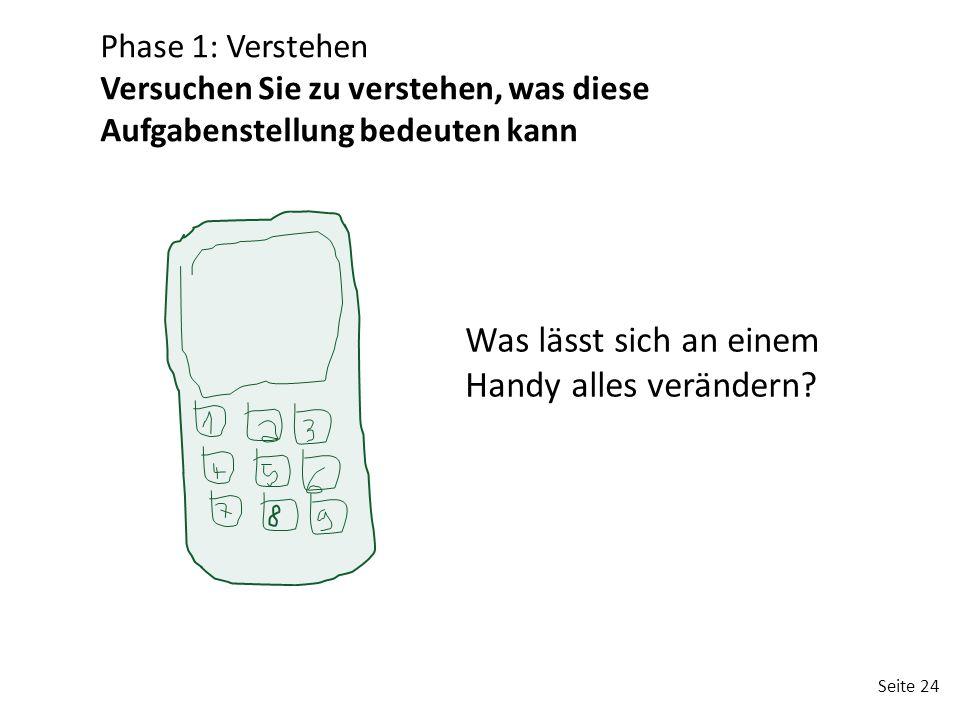 Seite 24 Was lässt sich an einem Handy alles verändern? Phase 1: Verstehen Versuchen Sie zu verstehen, was diese Aufgabenstellung bedeuten kann