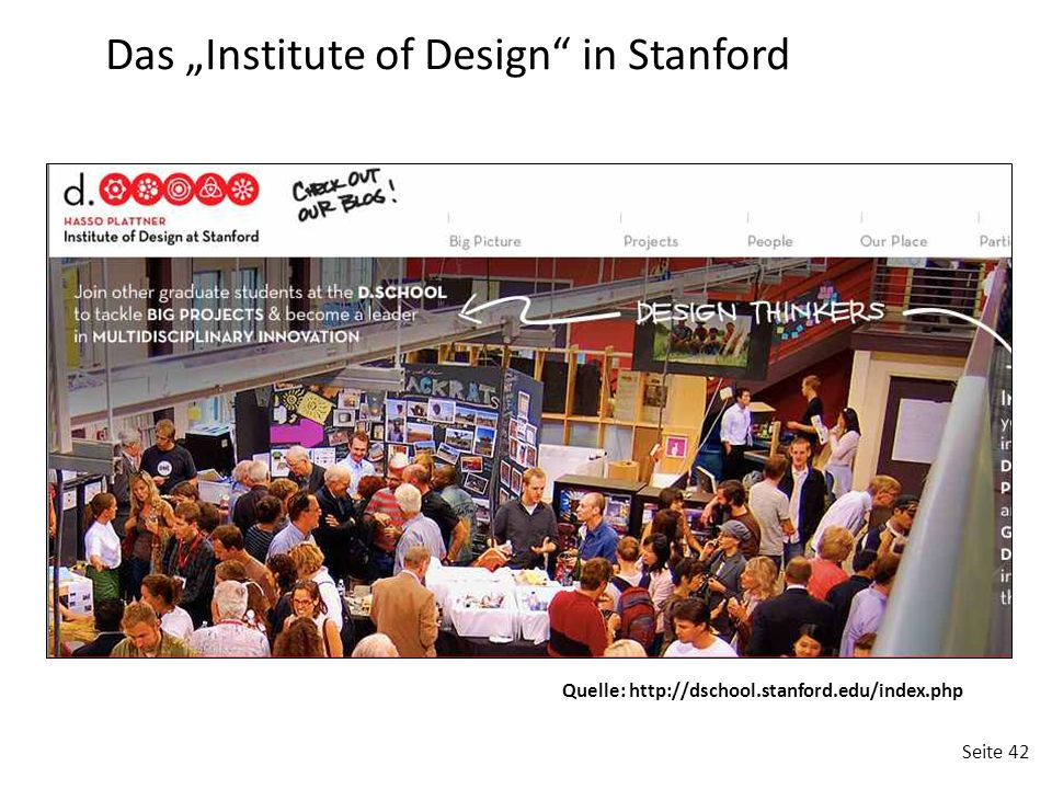 "Seite 42 Quelle: http://dschool.stanford.edu/index.php Das ""Institute of Design"" in Stanford"