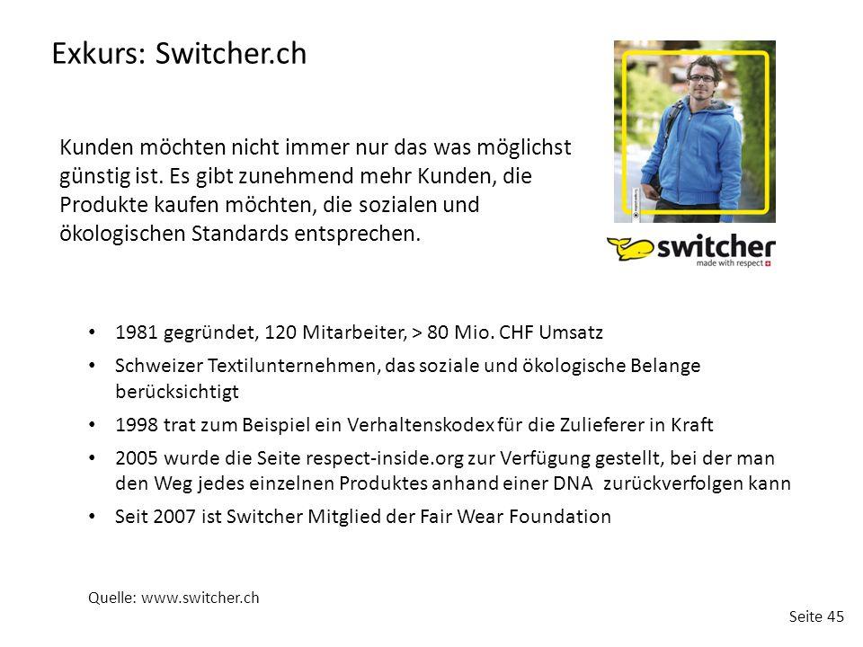 Seite 45 Exkurs: Switcher.ch 1981 gegründet, 120 Mitarbeiter, > 80 Mio. CHF Umsatz Schweizer Textilunternehmen, das soziale und ökologische Belange be