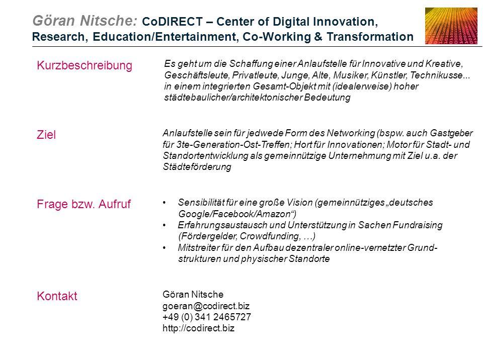 Göran Nitsche: CoDIRECT – Center of Digital Innovation, Research, Education/Entertainment, Co-Working & Transformation Kurzbeschreibung Es geht um die