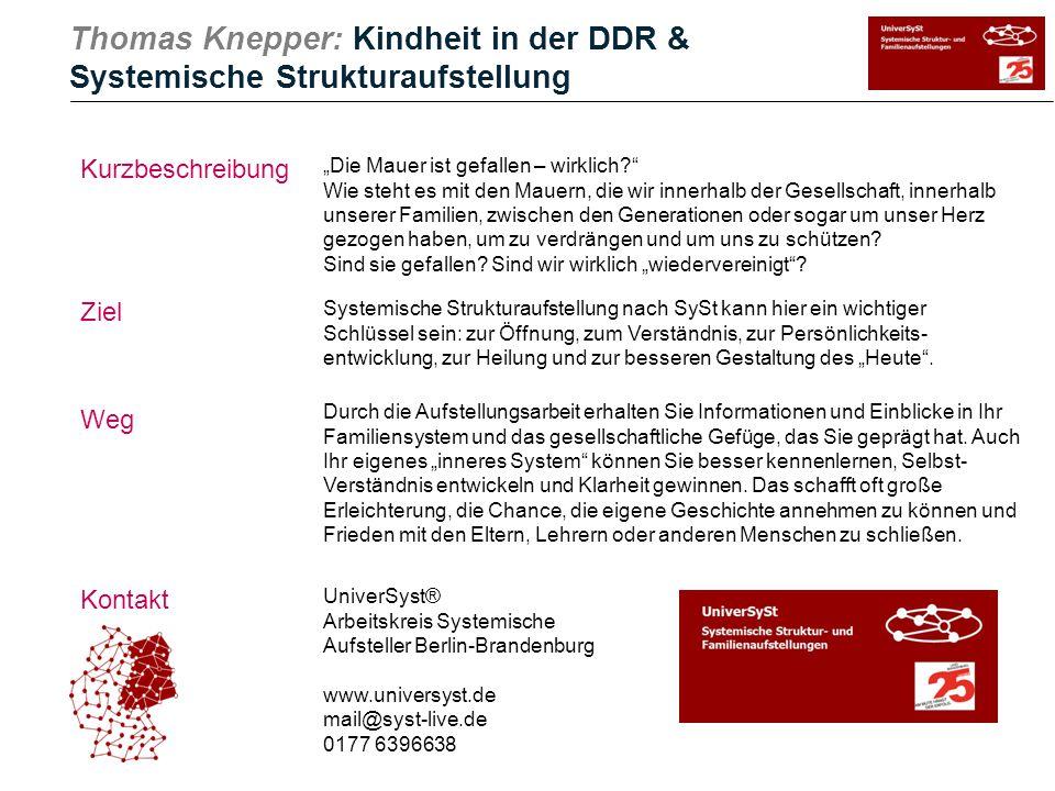 """Thomas Knepper: Kindheit in der DDR & Systemische Strukturaufstellung Kurzbeschreibung Ziel Weg Kontakt """"Die Mauer ist gefallen – wirklich?"""" Wie steht"""
