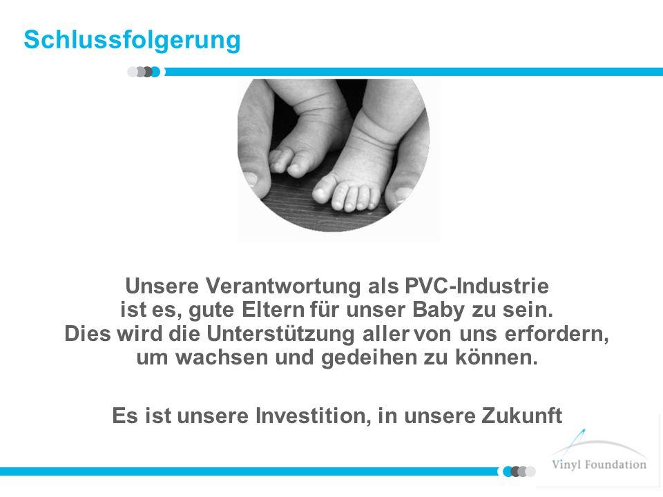 Schlussfolgerung Unsere Verantwortung als PVC-Industrie ist es, gute Eltern für unser Baby zu sein. Dies wird die Unterstützung aller von uns erforder