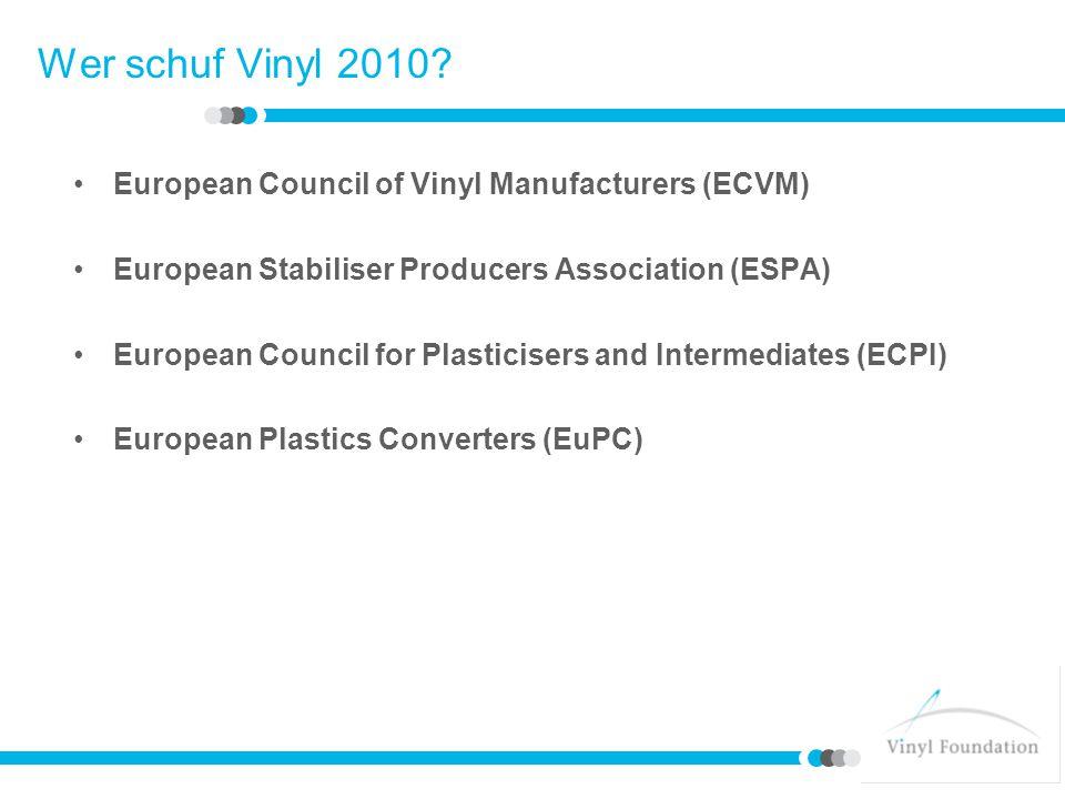 Die Verpflichtung von Vinyl 2010 Recycling von 200.000 Tonnen PVC-Verbraucherabfall bis 2010 (zusätzlich zu den festgelegten Recyclingmengen im Jahr 2000 und ausschließlich der geregelten Abfallströme) Ersatz von Bleistabilisatoren um 100% bis 2015 Einstellung der Verwendung von Cadmiumstabilisatoren im Jahr 2001 ECVM Prüfzeichen-Satzungen für die PVC-Produktion Umsetzung der Sozialcharta mit EMCEF