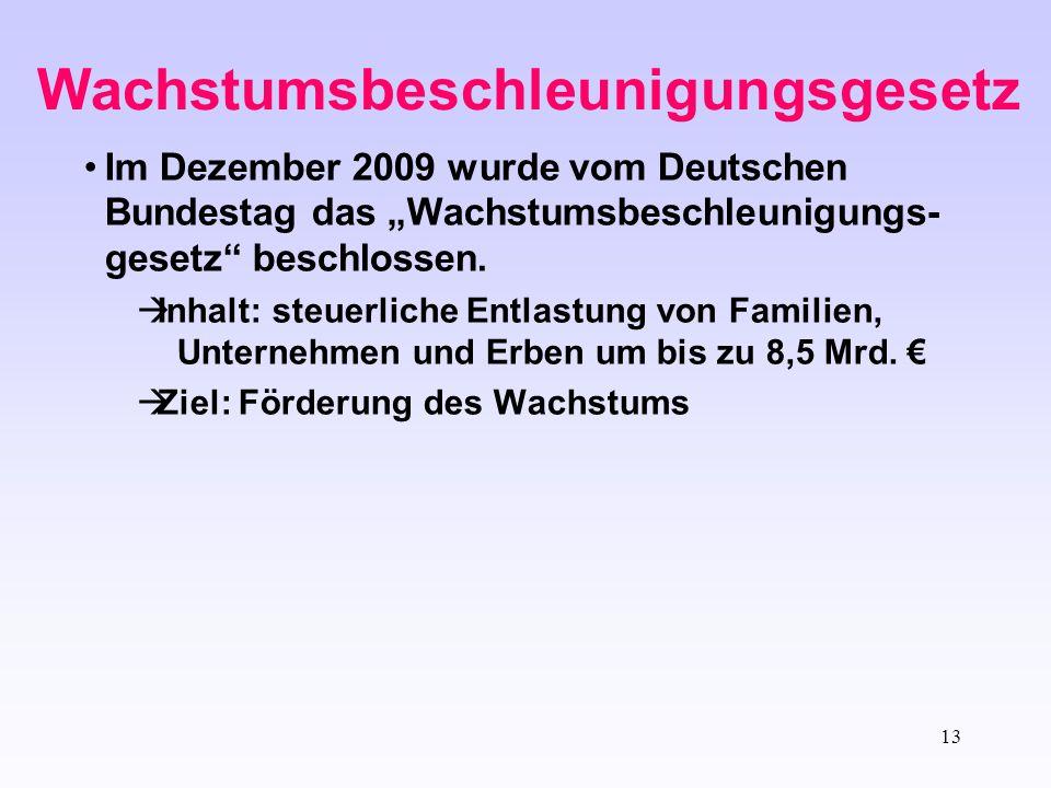 """13 Wachstumsbeschleunigungsgesetz Im Dezember 2009 wurde vom Deutschen Bundestag das """"Wachstumsbeschleunigungs- gesetz"""" beschlossen.  Inhalt: steuerl"""