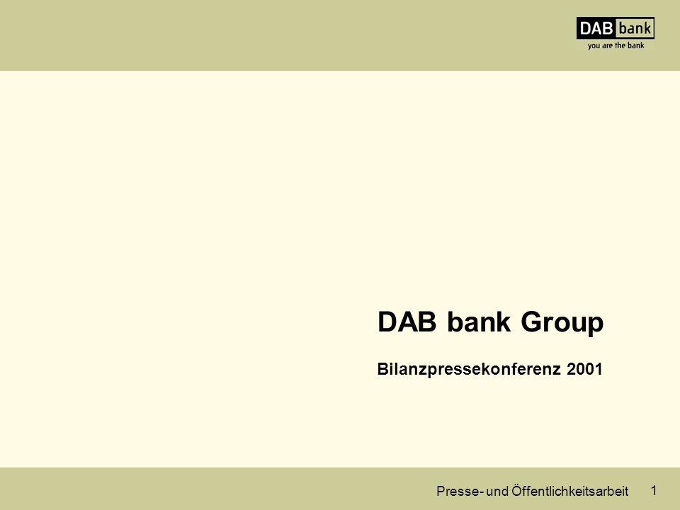 Presse- und Öffentlichkeitsarbeit 1 DAB bank Group Bilanzpressekonferenz 2001