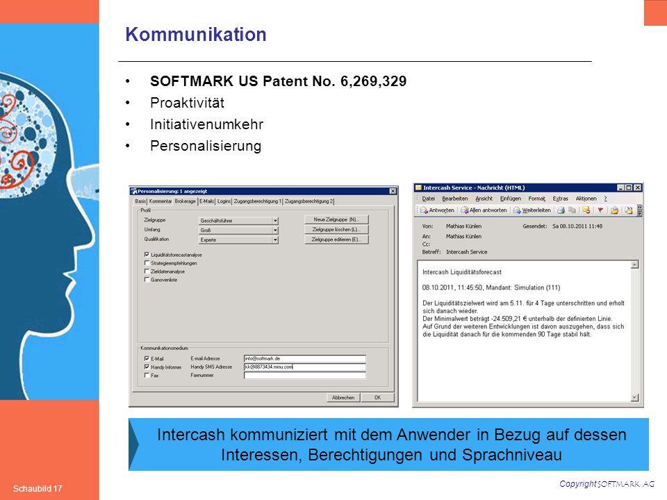 Copyright SOFTMARK AG Schaubild 17 Kommunikation Intercash kommuniziert mit dem Anwender in Bezug auf dessen Interessen, Berechtigungen und Sprachniveau SOFTMARK US Patent No.