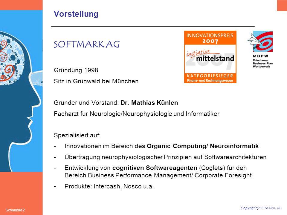 Copyright SOFTMARK AG Schaubild 2 Vorstellung SOFTMARK AG Gründung 1998 Sitz in Grünwald bei München Gründer und Vorstand: Dr.