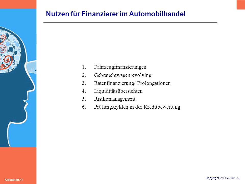 Copyright SOFTMARK AG Schaubild 21 Nutzen für Finanzierer im Automobilhandel 1.Fahrzeugfinanzierungen 2.Gebrauchtwagenrevolving 3.Ratenfinanzierung/ Prolongationen 4.Liquiditätsübersichten 5.Risikomanagement 6.Prüfungszyklen in der Kreditbewertung