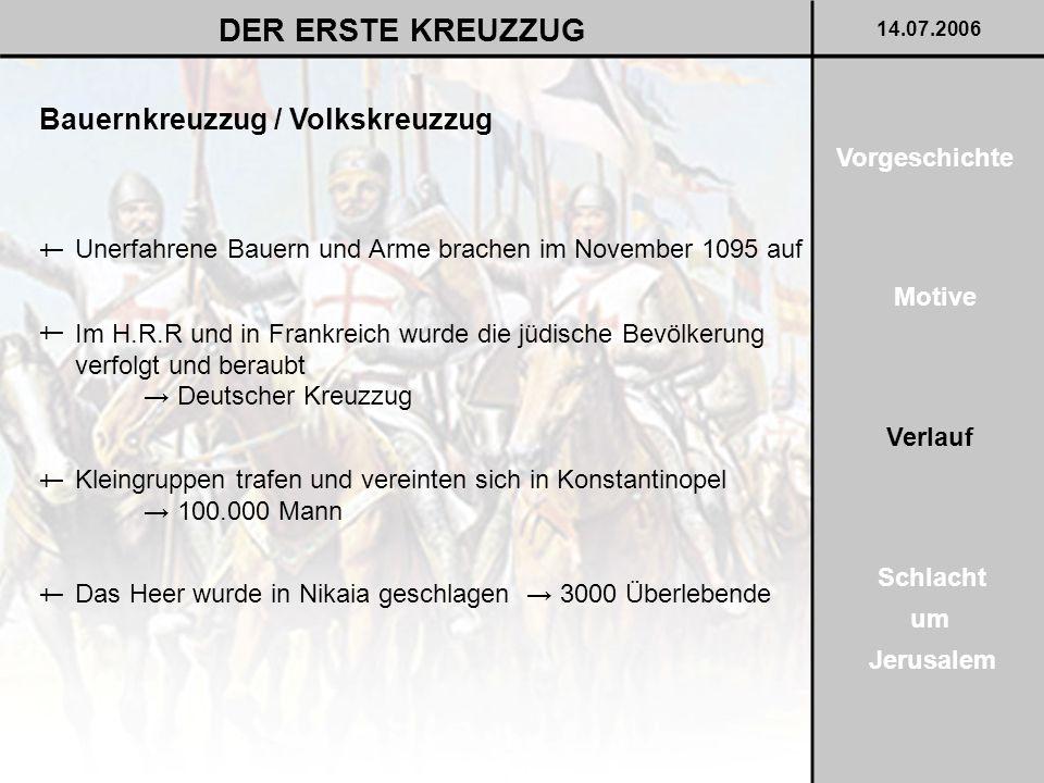 Bauernkreuzzug / Volkskreuzzug DER ERSTE KREUZZUG 14.07.2006 Vorgeschichte Motive Verlauf Schlacht um Jerusalem Unerfahrene Bauern und Arme brachen im