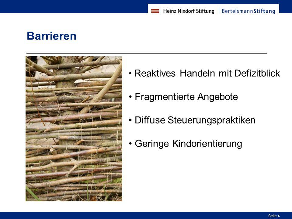 4 Seite 4 Barrieren Reaktives Handeln mit Defizitblick Fragmentierte Angebote Diffuse Steuerungspraktiken Geringe Kindorientierung