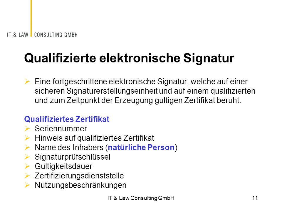 Qualifizierte elektronische Signatur  Eine fortgeschrittene elektronische Signatur, welche auf einer sicheren Signaturerstellungseinheit und auf einem qualifizierten und zum Zeitpunkt der Erzeugung gültigen Zertifikat beruht.