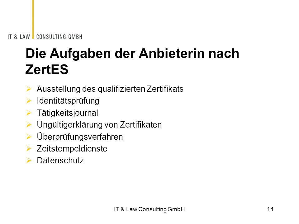 Die Aufgaben der Anbieterin nach ZertES  Ausstellung des qualifizierten Zertifikats  Identitätsprüfung  Tätigkeitsjournal  Ungültigerklärung von Zertifikaten  Überprüfungsverfahren  Zeitstempeldienste  Datenschutz IT & Law Consulting GmbH14