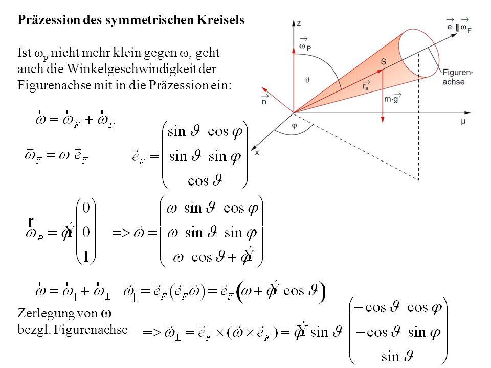 Ist ω p nicht mehr klein gegen ω, geht auch die Winkelgeschwindigkeit der Figurenachse mit in die Präzession ein: Präzession des symmetrischen Kreisel