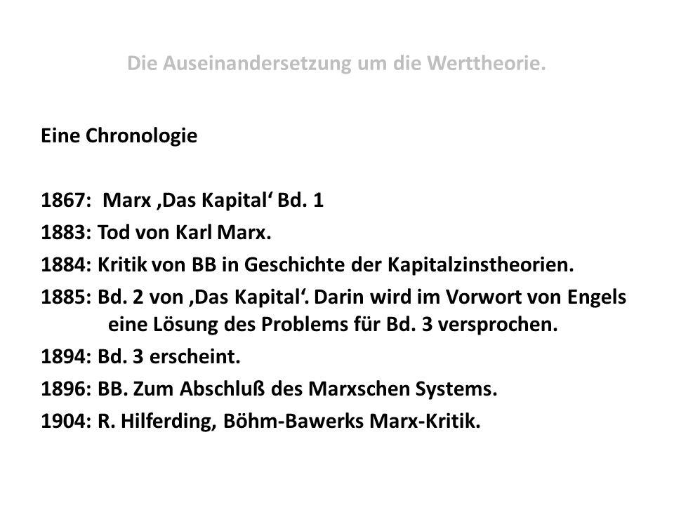 Die Auseinandersetzung um die Werttheorie. Eine Chronologie 1867: Marx 'Das Kapital' Bd. 1 1883: Tod von Karl Marx. 1884: Kritik von BB in Geschichte