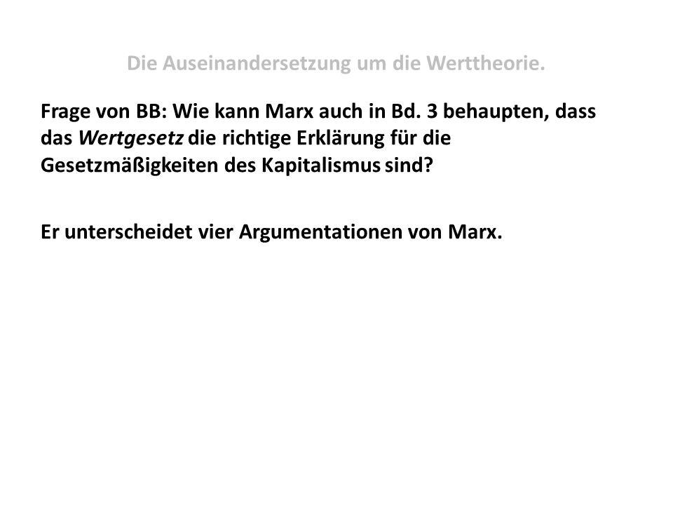 Die Auseinandersetzung um die Werttheorie. Frage von BB: Wie kann Marx auch in Bd. 3 behaupten, dass das Wertgesetz die richtige Erklärung für die Ges