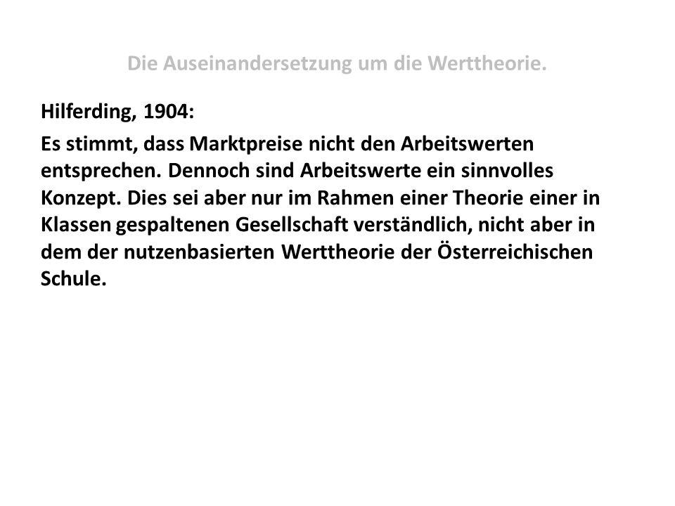 Die Auseinandersetzung um die Werttheorie. Hilferding, 1904: Es stimmt, dass Marktpreise nicht den Arbeitswerten entsprechen. Dennoch sind Arbeitswert