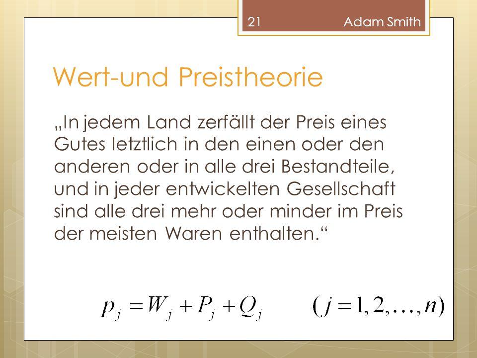 """Wert-und Preistheorie 21Adam Smith """"In jedem Land zerfällt der Preis eines Gutes letztlich in den einen oder den anderen oder in alle drei Bestandteil"""