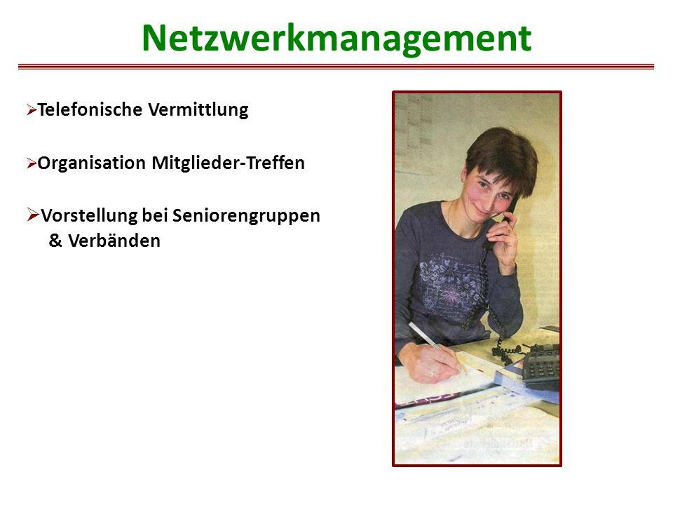 Netzwerkmanagement  Telefonische Vermittlung  Organisation Mitglieder-Treffen  Vorstellung bei Seniorengruppen & Verbänden