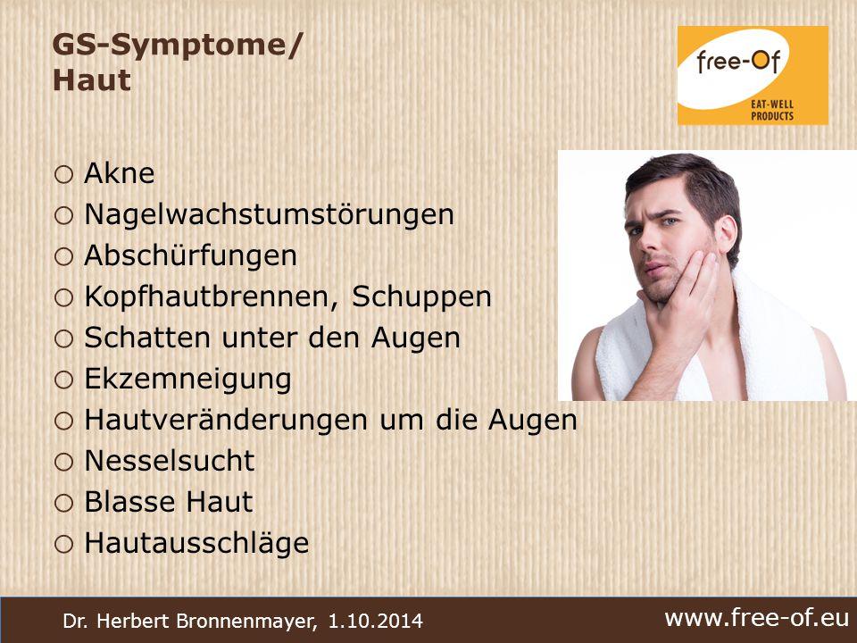 www.free-of.eu Dr. Herbert Bronnenmayer, 1.10.2014 GS-Symptome/ Haut o Akne o Nagelwachstumstörungen o Abschürfungen o Kopfhautbrennen, Schuppen o Sch