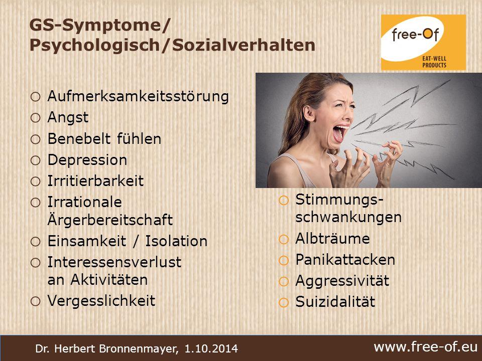 www.free-of.eu Dr. Herbert Bronnenmayer, 1.10.2014 GS-Symptome/ Psychologisch/Sozialverhalten o Aufmerksamkeitsstörung o Angst o Benebelt fühlen o Dep