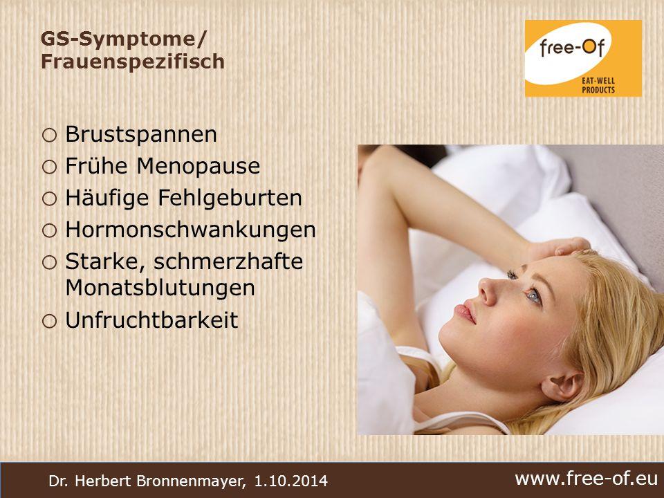 www.free-of.eu Dr. Herbert Bronnenmayer, 1.10.2014 GS-Symptome/ Frauenspezifisch o Brustspannen o Frühe Menopause o Häufige Fehlgeburten o Hormonschwa