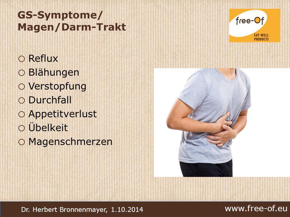 www.free-of.eu Dr. Herbert Bronnenmayer, 1.10.2014 GS-Symptome/ Magen/Darm-Trakt o Reflux o Blähungen o Verstopfung o Durchfall o Appetitverlust o Übe