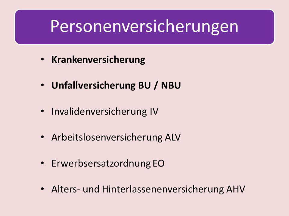 Personenversicherungen Krankenversicherung Unfallversicherung BU / NBU Invalidenversicherung IV Arbeitslosenversicherung ALV Erwerbsersatzordnung EO A