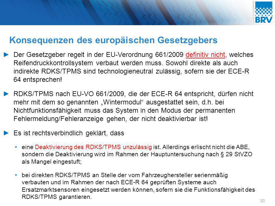 Konsequenzen des europäischen Gesetzgebers 10 ►Der Gesetzgeber regelt in der EU-Verordnung 661/2009 definitiv nicht, welches Reifendruckkontrollsystem