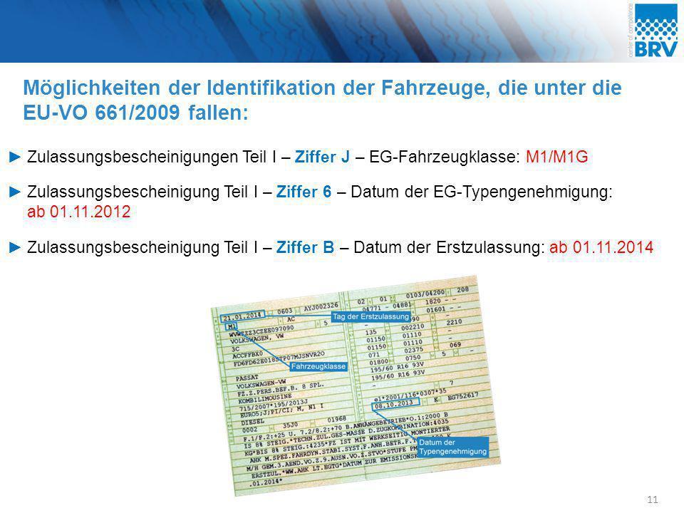 Möglichkeiten der Identifikation der Fahrzeuge, die unter die EU-VO 661/2009 fallen: 11 ►Zulassungsbescheinigungen Teil I – Ziffer J – EG-Fahrzeugklas