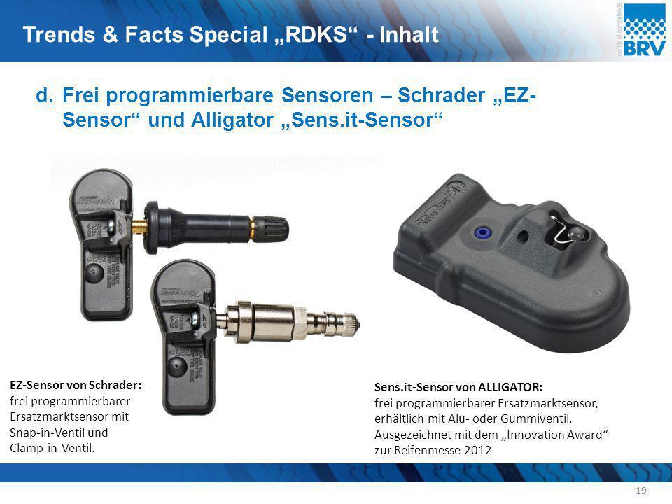 """d.Frei programmierbare Sensoren – Schrader """"EZ- Sensor"""" und Alligator """"Sens.it-Sensor"""" 19 EZ-Sensor von Schrader: frei programmierbarer Ersatzmarktsen"""
