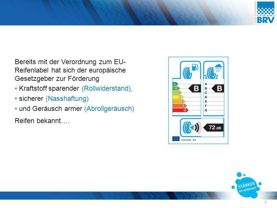 Bereits mit der Verordnung zum EU- Reifenlabel hat sich der europäische Gesetzgeber zur Förderung Kraftstoff sparender (Rollwiderstand), sicherer (Nas