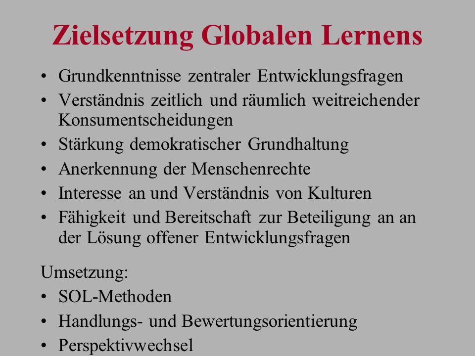 Zielsetzung Globalen Lernens Grundkenntnisse zentraler Entwicklungsfragen Verständnis zeitlich und räumlich weitreichender Konsumentscheidungen Stärku