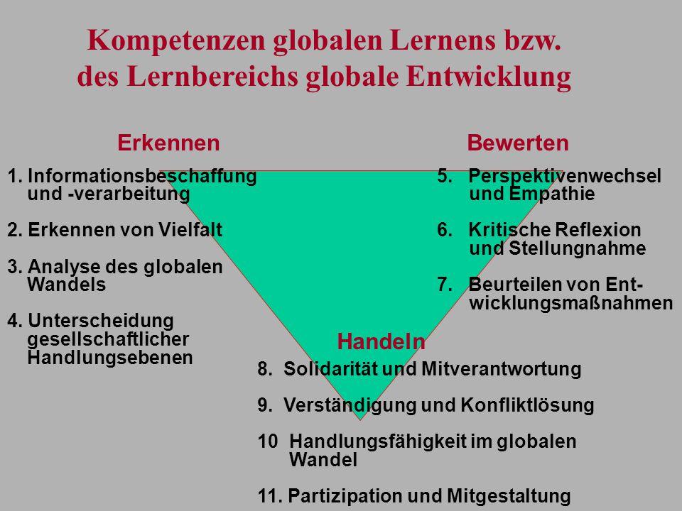 1. Informationsbeschaffung und -verarbeitung 2. Erkennen von Vielfalt 3. Analyse des globalen Wandels 4. Unterscheidung gesellschaftlicher Handlungseb
