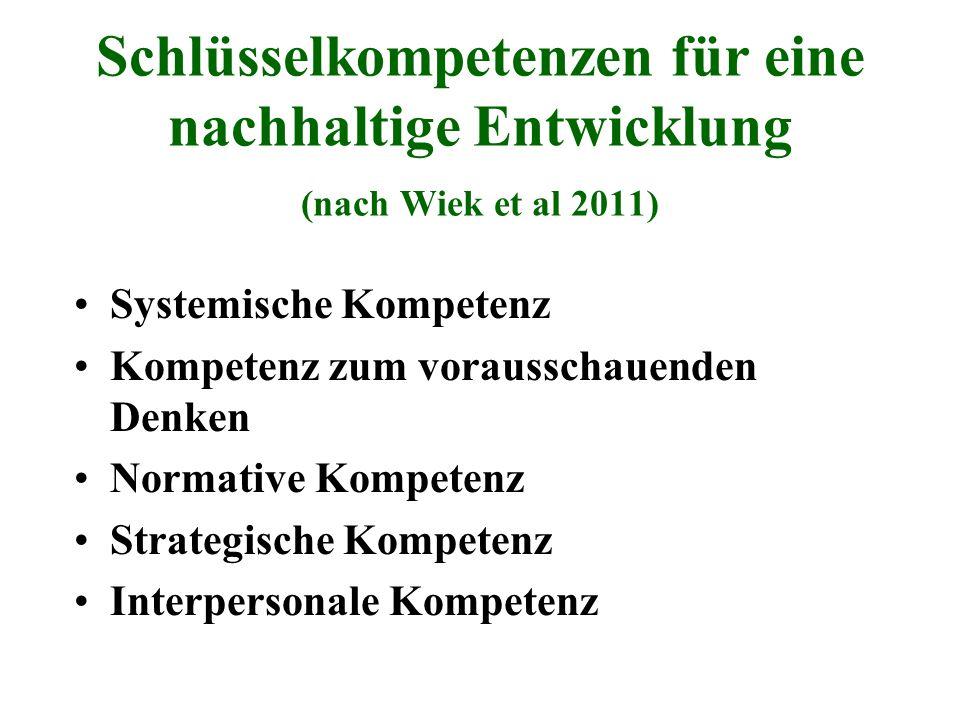 Schlüsselkompetenzen für eine nachhaltige Entwicklung (nach Wiek et al 2011) Systemische Kompetenz Kompetenz zum vorausschauenden Denken Normative Kom