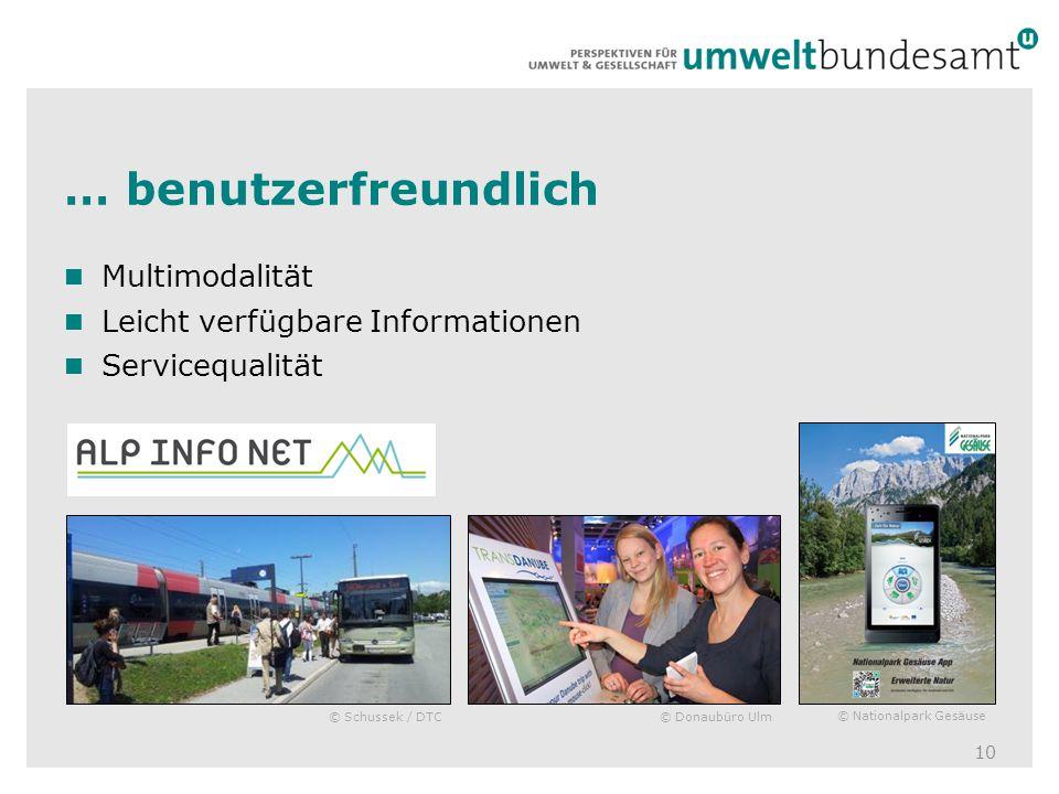 … benutzerfreundlich 10 Multimodalität Leicht verfügbare Informationen Servicequalität © Nationalpark Gesäuse © Donaubüro Ulm© Schussek / DTC