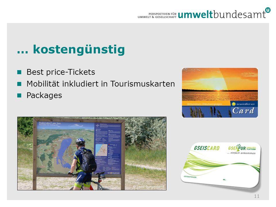 … kostengünstig 11 Best price-Tickets Mobilität inkludiert in Tourismuskarten Packages © Land Burgenland
