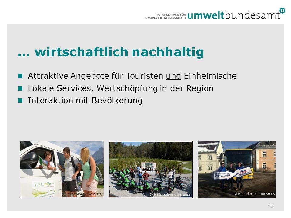 … wirtschaftlich nachhaltig 12 Attraktive Angebote für Touristen und Einheimische Lokale Services, Wertschöpfung in der Region Interaktion mit Bevölke