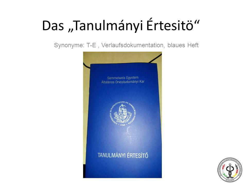 "Das ""Tanulmányi Értesitö"" Synonyme: T-E, Verlaufsdokumentation, blaues Heft"