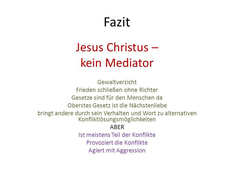 Fazit Jesus Christus – kein Mediator Gewaltverzicht Frieden schließen ohne Richter Gesetze sind für den Menschen da Oberstes Gesetz ist die Nächstenli