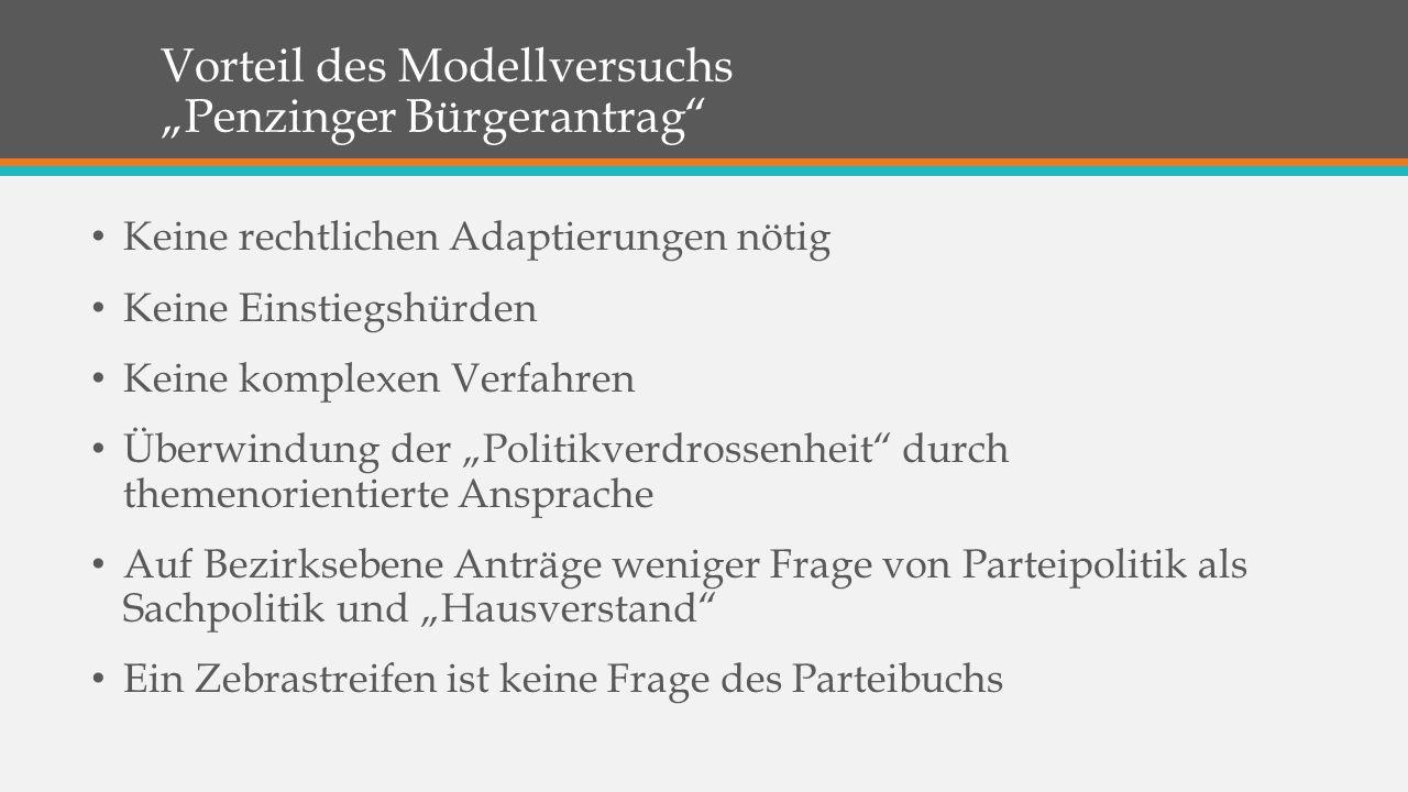 """Vorteil des Modellversuchs """"Penzinger Bürgerantrag"""" Keine rechtlichen Adaptierungen nötig Keine Einstiegshürden Keine komplexen Verfahren Überwindung"""