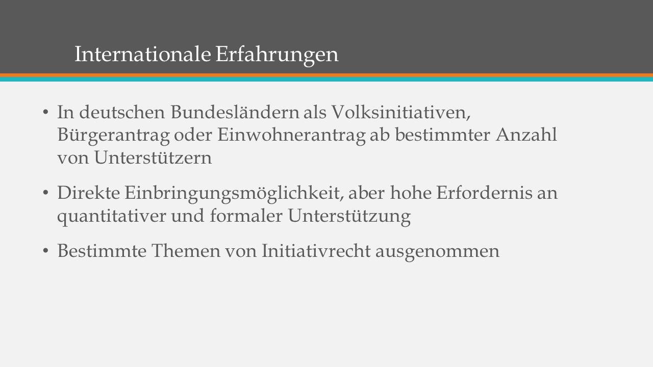 Internationale Erfahrungen In deutschen Bundesländern als Volksinitiativen, Bürgerantrag oder Einwohnerantrag ab bestimmter Anzahl von Unterstützern Direkte Einbringungsmöglichkeit, aber hohe Erfordernis an quantitativer und formaler Unterstützung Bestimmte Themen von Initiativrecht ausgenommen